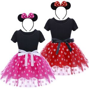 58ef3c5f4 Mickey Minnie Mouse Ear Headband Polka Dots Dress For Toddler Baby ...