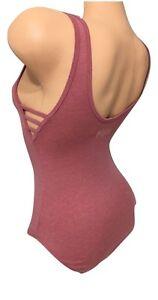 VS PINK Strappy Side Tank Top Bodysuit Heather Gray Logo S NEW