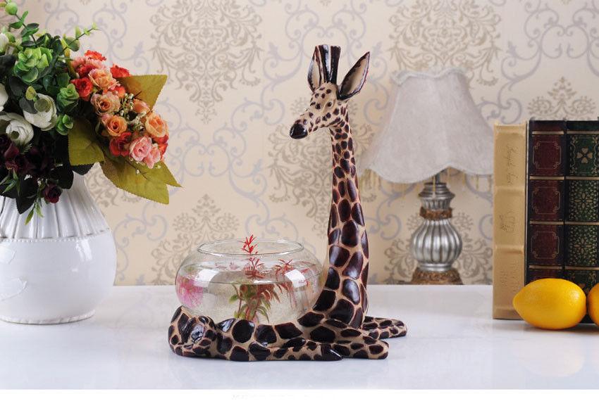 promozioni di squadra D8 Resin Giraffe Glass Fish Tank Tank Tank Bedroom Living Room Desktop Decor 27X18CM Z  ordina adesso