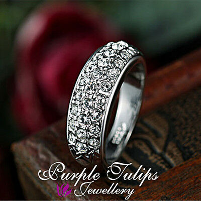 18CT White Gold Plated Fashion Sparkling Ring W/ Genuine SWAROVSKI Crystals