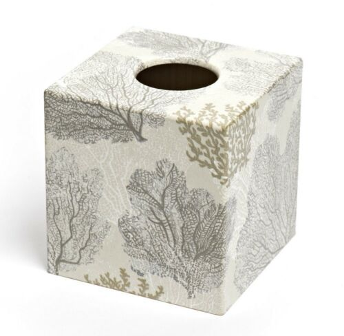 Silver Coral Tissue Box Cover wooden handmade UK