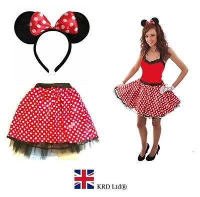 Women Crazy Chick Polka Dot Skirt Cartoon MINNIE MOUSE EARS WITH RED BOW