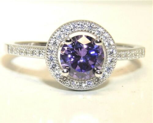 SILVER AMETHYST RING  CLUSTER  STATEMENT SIZE P 925 STERLING SILVER
