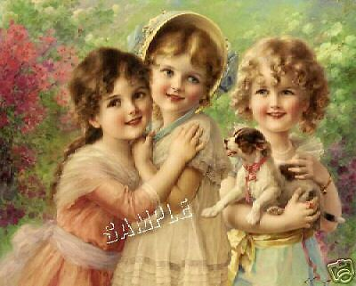 3 VICTORIAN GIRLS JACK RUSSELL DOG *CANVAS* ART VERNON