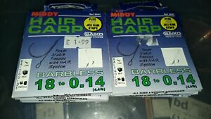 SIZE 10//12//14//16//18 BARBLESS MIDDY HAIR CARP HOOKS TO NYLON