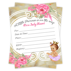 Baby Shower Invitations Tutu Princess Ballerina Invite Girl Gold