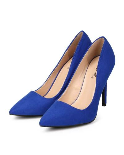 New Women Qupid Milia-01 Suede Pointy Toe Single Sole Classic Stiletto Pump Size