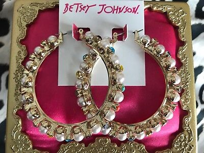 a9a805fd9b5f7 Betsey Johnson HUGE Granny Chic Gold Pearl Multi-Color Crystal Hoop  Earrings $55 | eBay