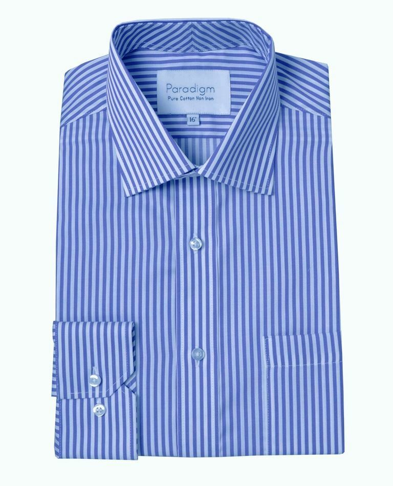 Paradigm Pure Cotton Non Iron bluee Stripe Formal Shirt, Collar 18 to 21 Inches