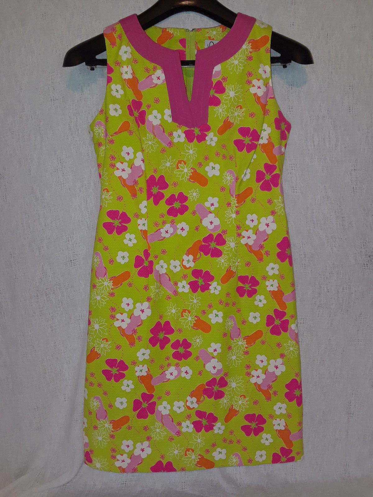 Lilly Pulitzer Bright Grün Rosa Split V Neck Flip Flop Flower Shift Dress Sz 6