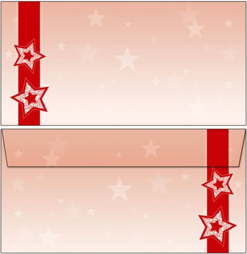 50 Briefumschläge Motiv Weihnachten rote Sterne DIN lang ohne Fenster rot