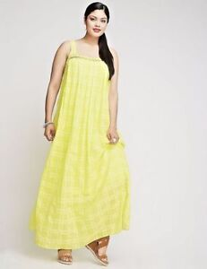 Details about LANE BRYANT PLUS SIZE 24 Lemon Yellow Pleated Front Maxi  Dress Sleeveless