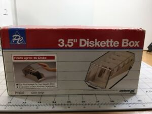 PC-Accessories-P11003-3-5-Diskette-Box-Up-To-40-Disks-New-Gemini-III-Beige
