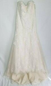 David-039-s-Bridal-NWT-Lace-Wedding-Dress-with-Beading-Strapless-Ivory-Size-10-CLP
