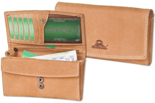 Woodland® Damen Geldbörse im Querformat in Hellbraun aus naturbelassenem Leder
