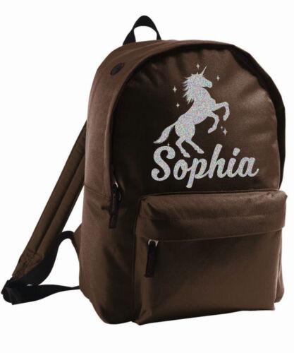 Kids Unicorn Bag Personalised Backpack Rucksack Add Name Silver Sparkle Birthday