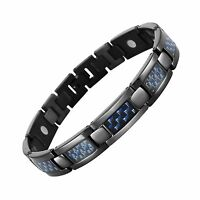 Blue Carbon Fiber Titanium Magnetic Bracelet Adjustable By Will... Free Shipping