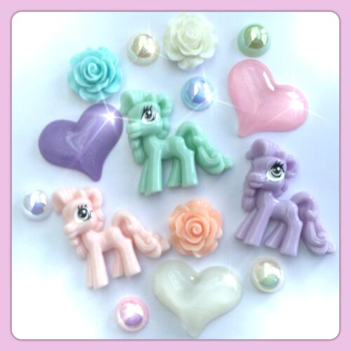 Hearts /& Roses flatbacks for decoden crafts 3 My Little Pony Theme Cabochons