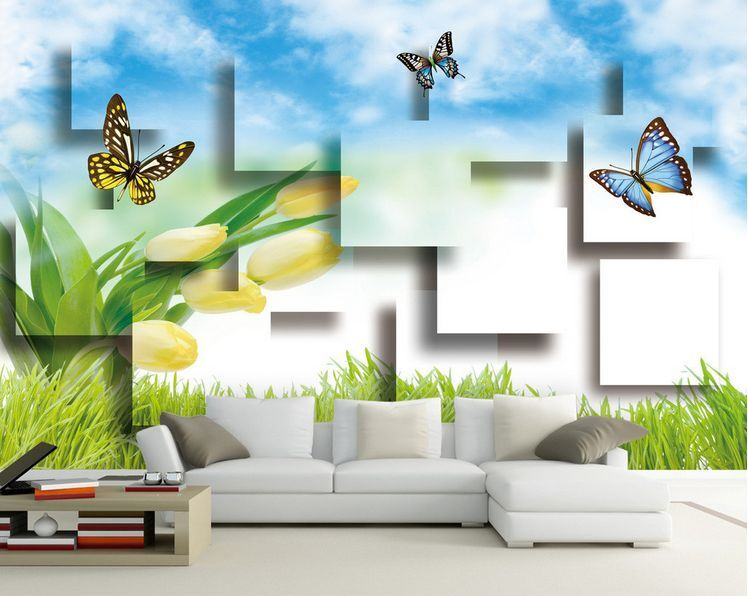 3D Mega Butterflies And Tulips848 Wall Paper Wall Print Decal Wall AJ Wall Paper