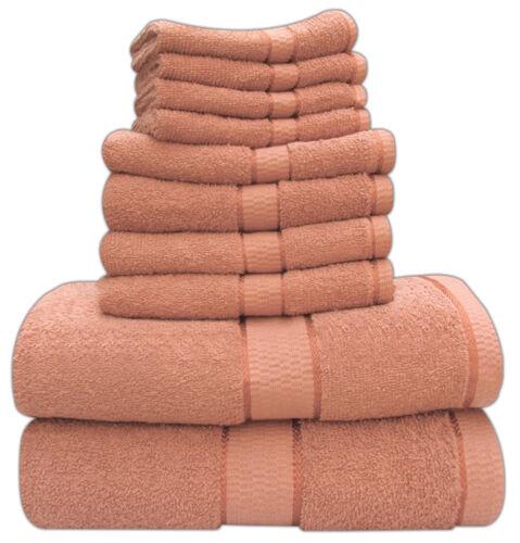 2 FACE CLOTH DELUXE 6 PIECE SATIN BATH TOWELS SET 100/% COTTON 2 BATH 2 HAND