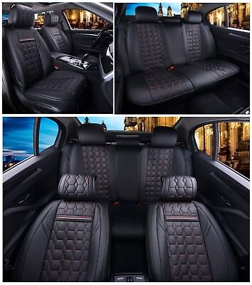 Deluxe Black PU Leather Front Seat Covers For Mercedes GLE GLS C S G M Class AMG