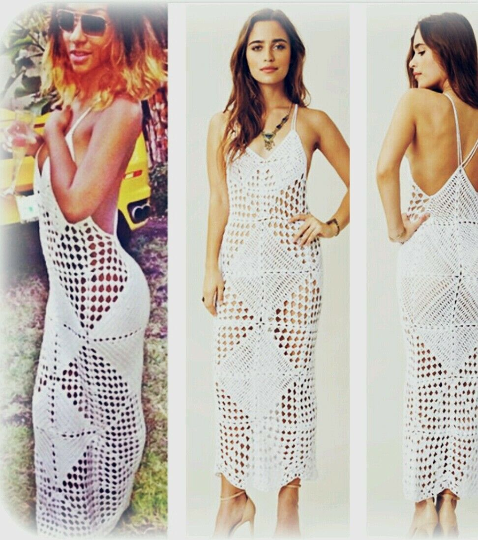 Lace♡Crochet♡Vintage Style♡Celebrity Bodycon Long Summer Dress ♡NEW L Bohemian