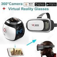 4k 360° Wifi Panoramic Camera Sport Action Vr Camera White W/3d Vr Glasses T75
