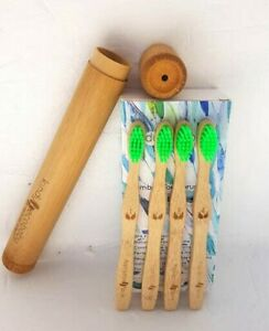 Kids-Bamboo-Toothbrush-Biodegradable-Soft-Green-Bristles-Bamboo-Brush-Holder
