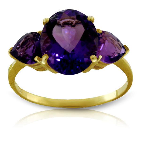 Genuine Purple Amethyst Gemstones 3 Stone Ring in 14K Yellow, White or pink gold