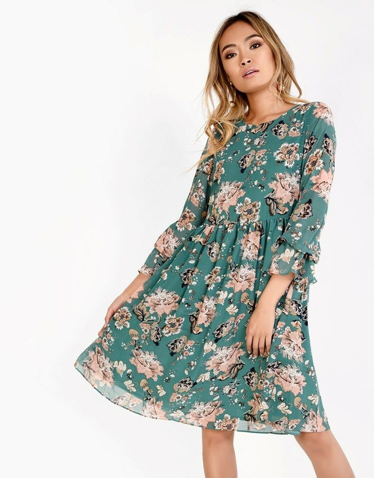 Nouveau Glamour Vert Floral Robe Patineuse Fête Mariage Formel Prom Look Uk 12