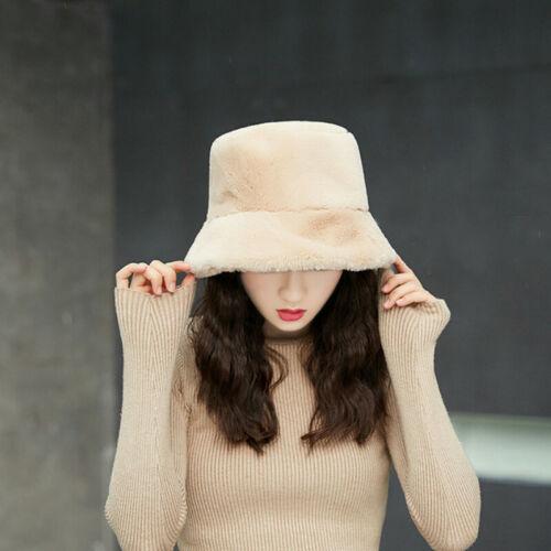 Les femmes en fourrure synthétique Seau Chapeau Bush Chapeau Large Bord Moelleux Hiver vintage fashion