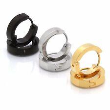 Men Ladies Silver Gold Black 12mm x 4mm Hoop Huggie Earring Leverback 3 Pairs