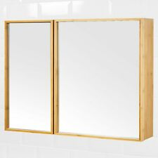 Natural Bamboo Wooden Wall Mounted Mirror 2 Door Bathroom Cabinet Storage 3 Tier