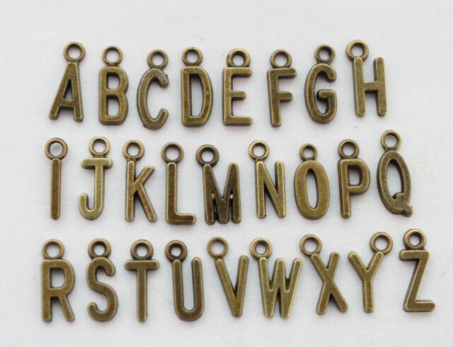 78PCS Assorted Antiqued bronze alphabet letter charms #22789