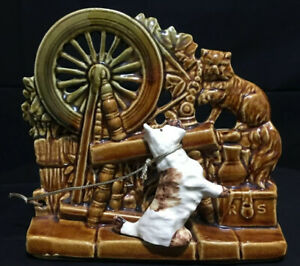 Vintage-1950-039-s-McCoy-Planter-Spinning-Wheel-w-Scottie-Dog-amp-Cat-USA-Pottery