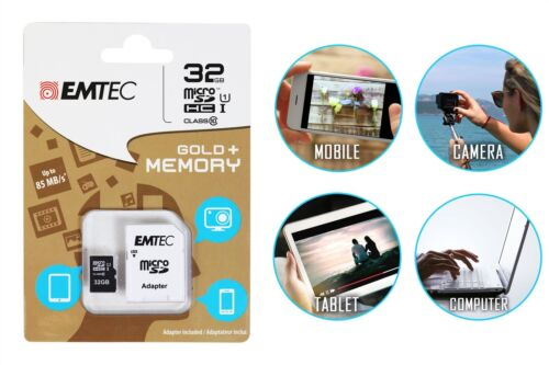 Emtec 32GB Micro SD SDHC Memory Card Class 10 with SD Adapter Camera