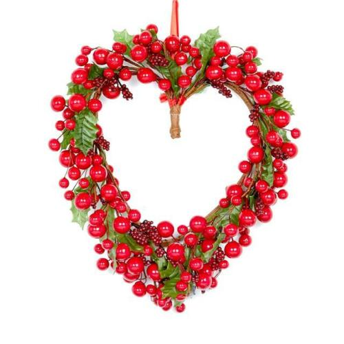 Luxury Christmas Berries Decoration Artificial Red Berry Holly Heart Wreath