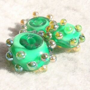 POT-O-GOLD-Set-3-Handmade-Art-Glass-Beads-Flaming-Fools-Lampwork-Art-Glass-SRA