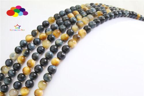À faire soi-même 6//8//10mm pierre naturelle TIGER/'S EYE AGATE ROUND BEADS Fit Bracelet Collier