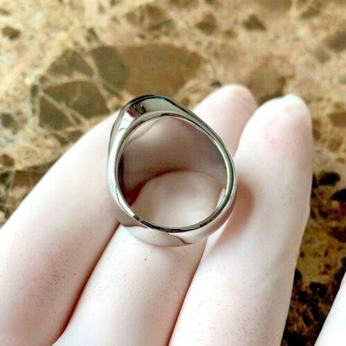 Men/'s,Stainless Steel Silver.Black Onyx.Rings 8,9,10,11,12 13