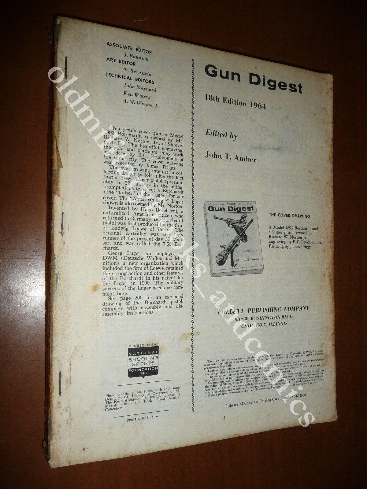 GUN DIGEST 1964 WORLD'S GREATEST GUN BOOK JOHN T. AMBER PISTOLE FUCILI REVOLVER