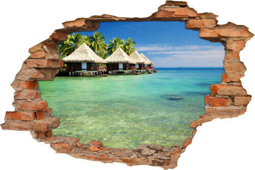show original title Details about  /3D Wall Picture Wall Tattoo Wall Sticker Tahiti Sea Maldives bungalows Holiday