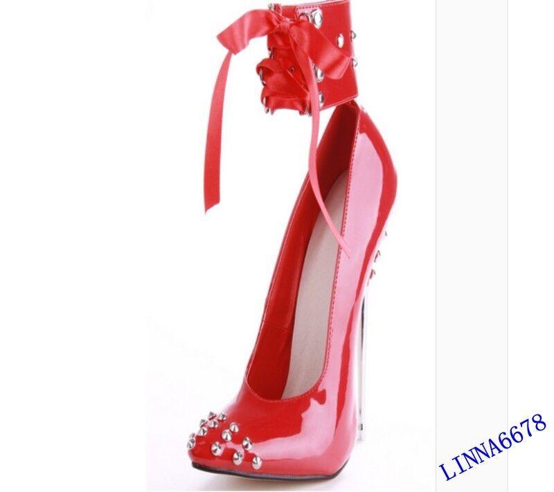 Womens Stilettos Heel Rivet Ankle Strap 16cm 16cm 16cm Pointy Toe Ankle shoes Sexy 4bab6d