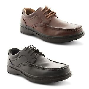 mens boys black brown casual lace up formal work moccasin
