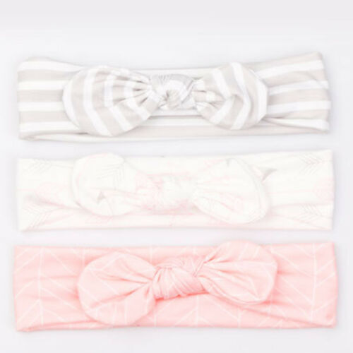3Pcs Baby Girls Bow knot Elastic Headband Turban Toddler Kids Hair Band Headwrap