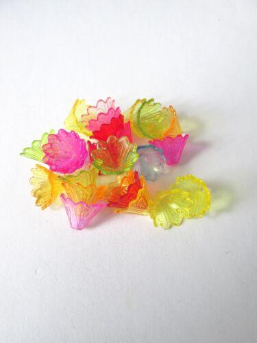 100 un 15mm Transparente Flor granos mezclan de color de la fabricación de joyas Craft UK