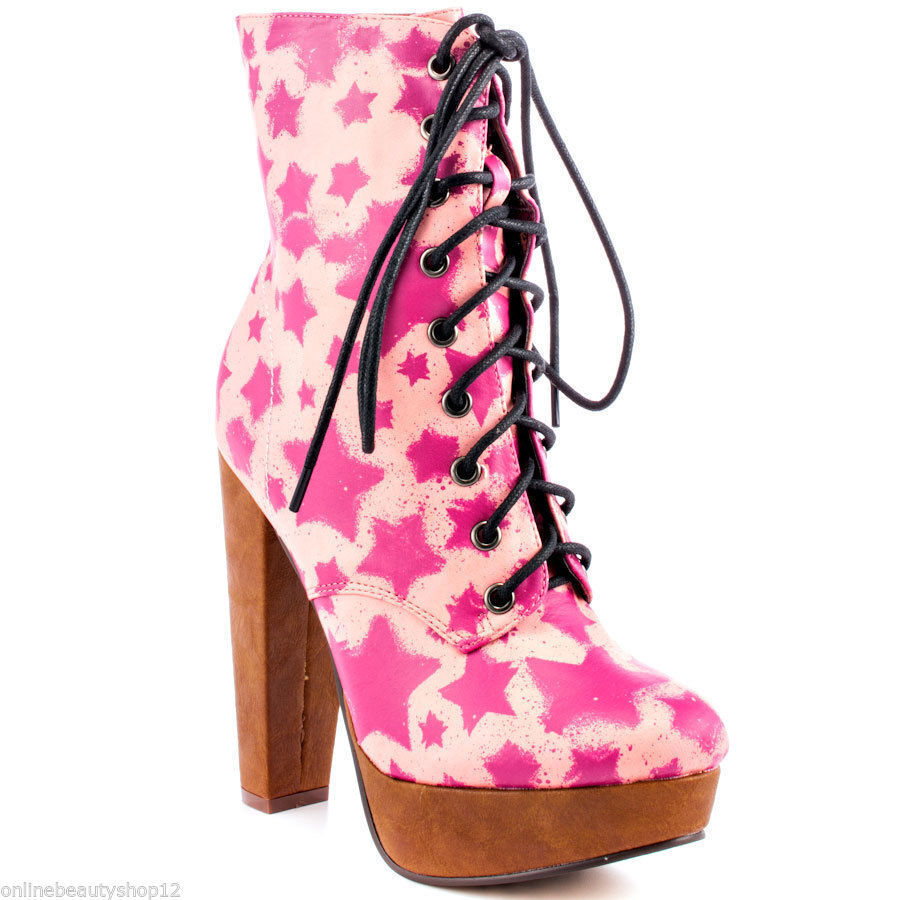 IRON FIST STARSHIP PINK HIGH HEELS PLATFORM BOOTS BOOTIE SHOES - SIZE 3 TO 10