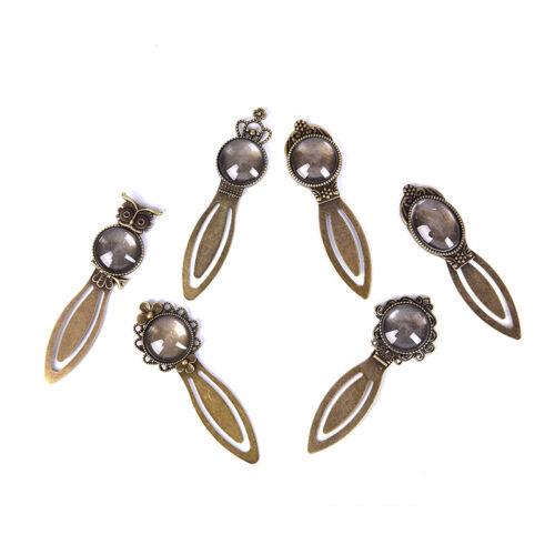 12Pcs 6 Styles Antique Bronze Bookmark Pendant Tray Glass Cabochon Crafts DIY ;