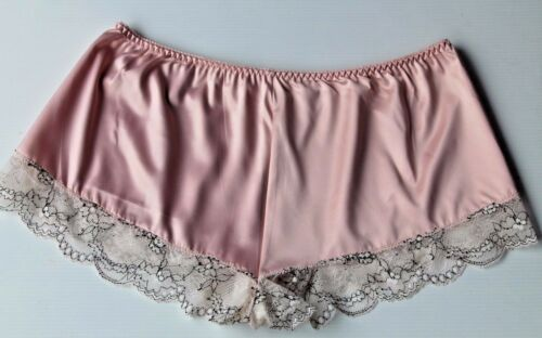 Burlesque Pink Satin Cream Lace French Cami Knickers Tap Pant Panties   12-14