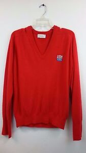 RARE-Vtg-1980-039-s-NFL-Alumni-OFFICIAL-Red-Acrylic-Sweater-by-Sahara-Size-M-V-Neck